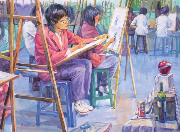 學畫的孩子 Students Learn Painting